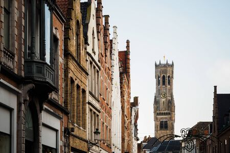 Exterior architecture of the streets of Bruges in Belgium