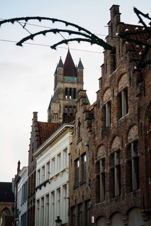 Exterior architecture of buildings in the streets of Bruges in Belgium