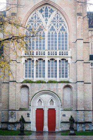 Entrance to the church in the city center of Bruges in Belgium