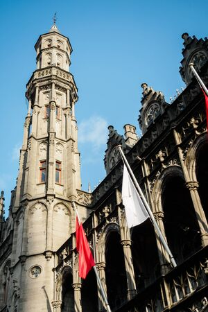 Belfry of Bruges from the interior courtyard in Belgium