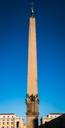 Vertical panorama of the Obelisk on the Vatican Square in Rome, Italy