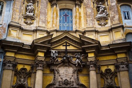 Close up on the facade of Santa Maria Maddalena Church in Rome, Italy