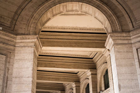 Arches of the galleries around the Republic Square in Rome, Italy