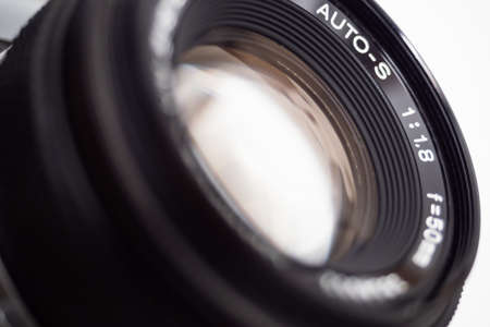 Close up of the front element of a camera lens