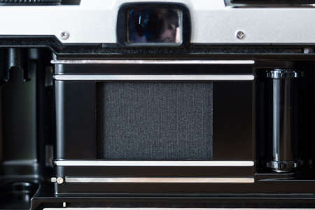Shutter curtain inside an old film camera