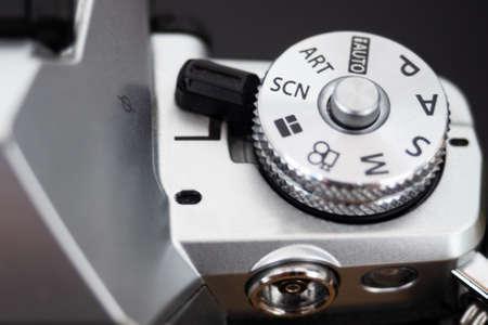 Shooting mode selection wheel of a modern digital camera Archivio Fotografico