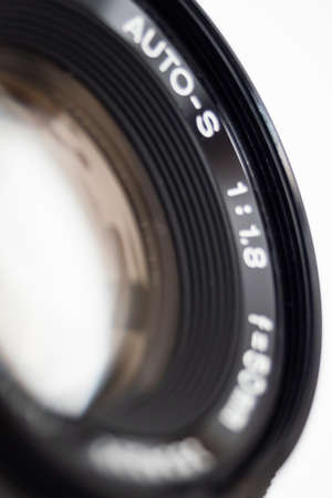 Close up of the outer lens of a camera lens