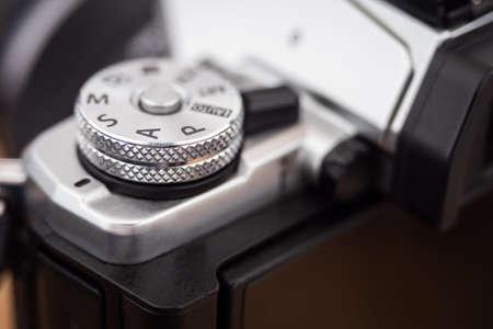Close up on a camera S mode dial Archivio Fotografico