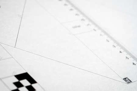 Paper test chart for AF calibration of a reflex camera