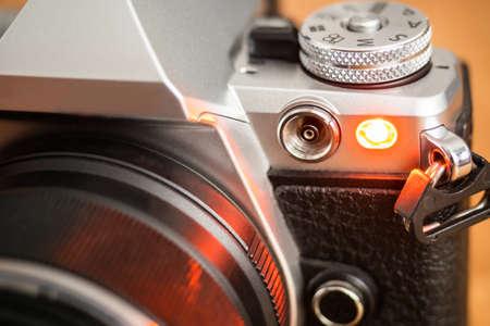 Auto focus illuminator or self-timer light on a modern camera Archivio Fotografico