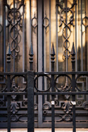 Wrought iron entrance gate in Paris