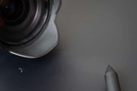 Post-processing with a stylus, a graphics tablet and lens