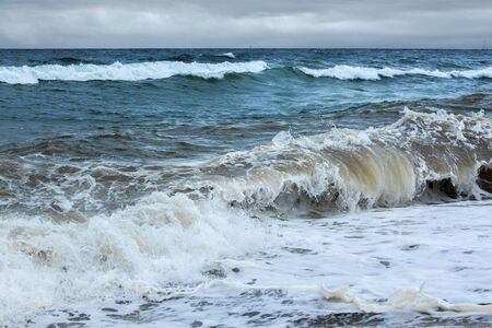 Raging sea in a cloudy day Seascape theme