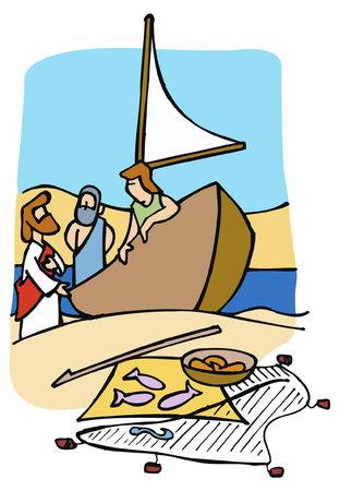 Jésus prêchant aux pêcheurs et leur demandant de le suivre.