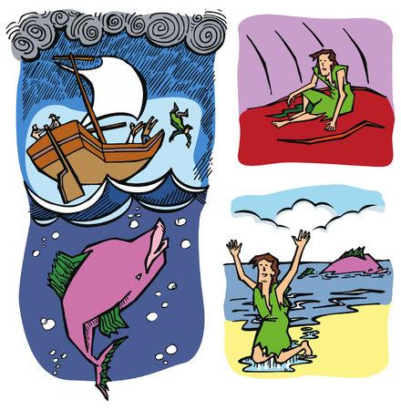 Jona en de walvis. Stock Illustratie