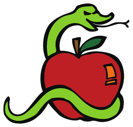Serpent or snake and the apple or fruit of temptation, cause of Adam and Eve getting out of the paradise or Garden of Eden. Illustration