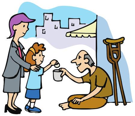 Bonne action: une fille donne de l?argent à une personne sans abri.