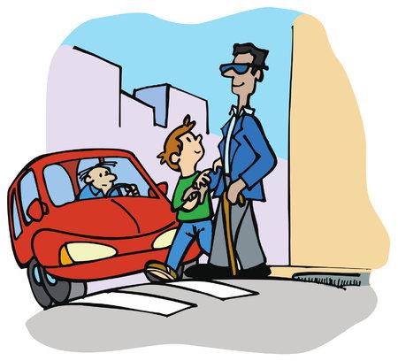 Buona azione: il ragazzo aiuta un cieco ad attraversare la strada. Vettoriali