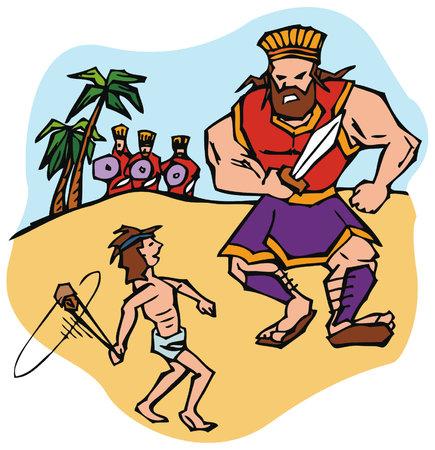 David besiegt den Riesen Goliath mit einer Schleuder, wie sie im Alten Testament in der Bibel beschrieben wird. Standard-Bild - 90338297