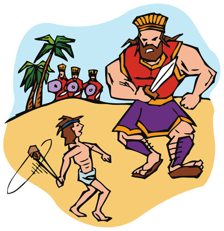 David defeats the giant Goliath with a slingshot, as described in the Old Testament, in the Bible.