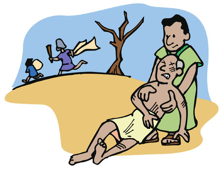 De barmhartige Samaritaan helpt en zorgt voor een man die is aangevallen door dieven op de weg.