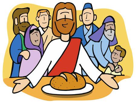 イエスはパンを共有します。  イラスト・ベクター素材