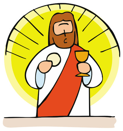 Jesus is the bread of life. Holy Communion is, for Roman Catholics the Body of Christ present in the church. Vettoriali
