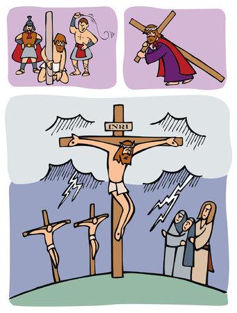 그리스도의 수난. 예수님은 로마인들에게 채찍질을 당하고 골고다라는 언덕까지 십자가를지고 십자가에 못 박혔습니다.