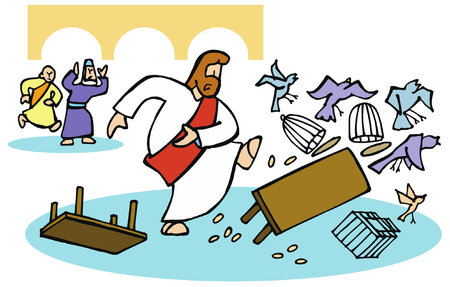 Jesus overturns the money changers' tables.