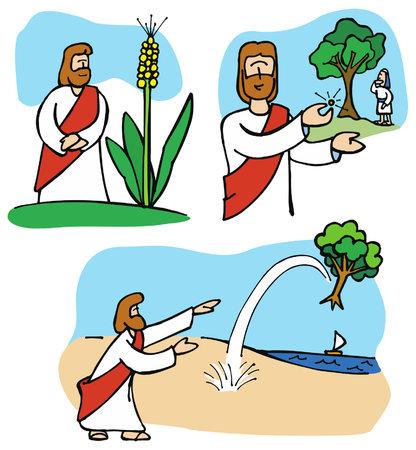 イエスは信仰の大きさについてたとえ:マスタード、種子、木や小麦。  イラスト・ベクター素材