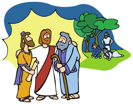 """Trasfigurazione: Pietro disse a Gesù: """"Signore, è bello per noi essere qui, se vuoi, farò tre tabernacoli qui, uno per te e uno per Mosè e uno per Elia""""."""
