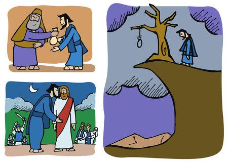 ユダはイエスを裏切り、後で後悔します。