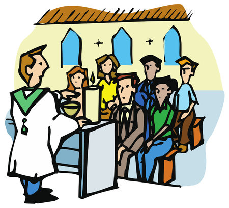 Religious service or mass in a Christian Church. The priest is preaching to the congregation