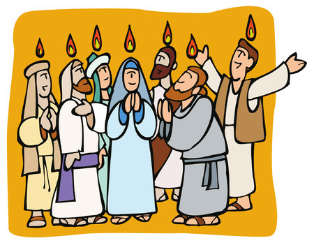Pentecost. Apostles and Mary praying in tongues and fire above them while receiving the Holy Spirit Ilustração