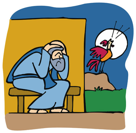 As Jesus predicted, before the rooster crows 3 times, Peter denies three times that he even knows him. Stock Vector - 90338375