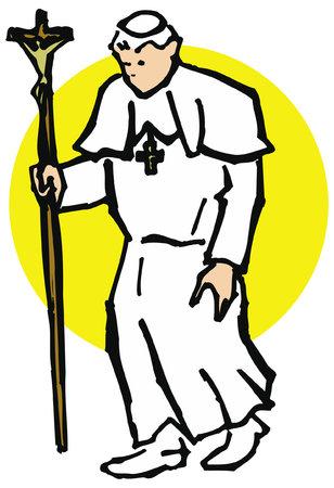 The Pope walking, maximum authority of the Roman Catholic Church. Ilustração