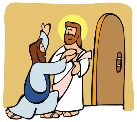 Thomas the apostle finally believes in Jesus resurrection after seeing him and touching his wounds. Vettoriali