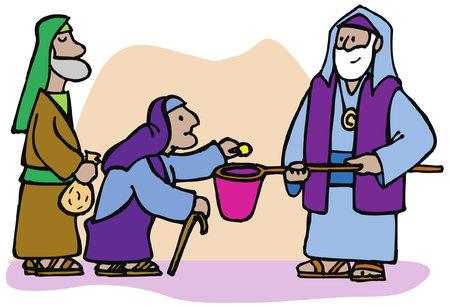Una viuda generosa da una moneda en el templo a pesar de que es todo lo que posee Ilustración de vector