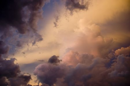 A storm building in Florida at sunset