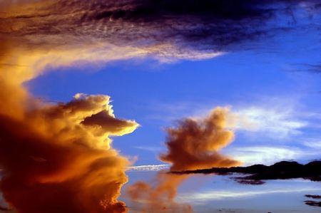 An island in the sky at sundown photo