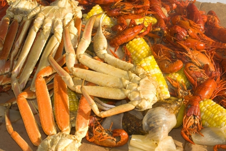 A seafood medley of crab legs, crayfish and vegetables Stock Photo - 845047