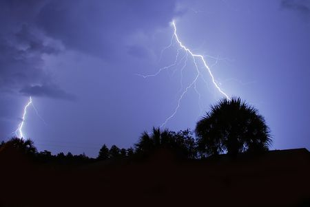 Lightning and thunder in Central Florida Stock Photo
