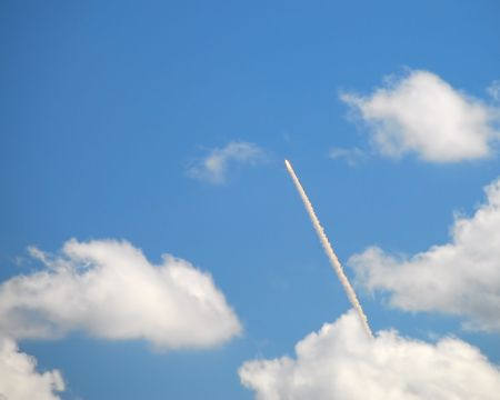 A shuttle launch on a beautiful sunny day in Florida