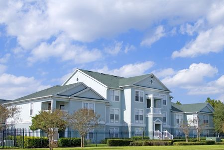 Upscale condo in Central Florida with blue sky Stock Photo