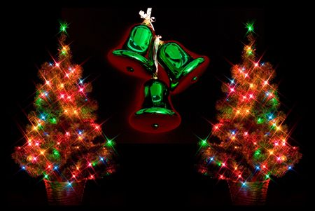 decorating christmas tree: Dual Christmas trees with glowing bells on black background with starburst lighting effect