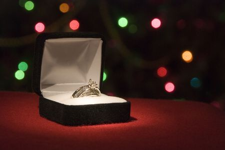 A beautiful 2 carat wedding ring with shallow DOF photo