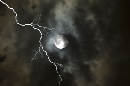 Moon on a stormy night in Florida
