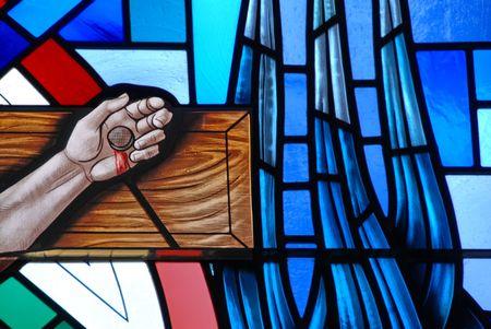 kruzifix: Glasfenster der Kreuzigung von Jesus