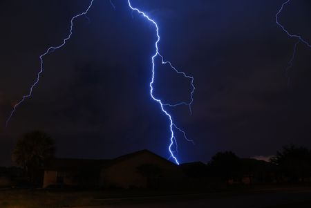 Spring storm lightning strike in a local neighborhood  Stock Photo - 3088181