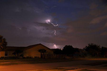 Summer storm lightning strike in a local neighborhood Stock Photo - 3350323